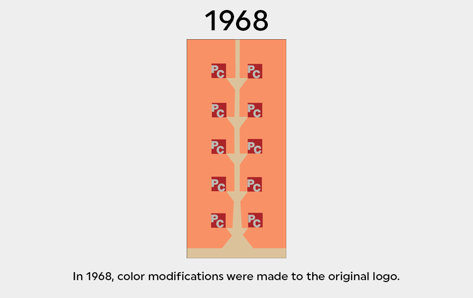 Color modifications were made to the logo in 1968